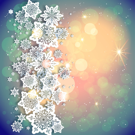Urlaub auf dem Hintergrund und Schneeflocken und Lichtern. Kopieren Sie Platz