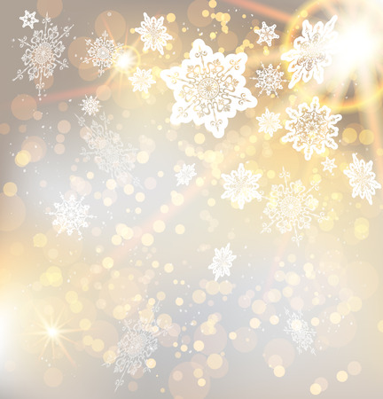 a holiday greeting: Festive christmas background with snowflakes and lights. Copy space