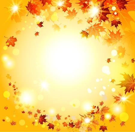 Oranje herfst achtergrond met esdoorn bladeren. Plaats voor tekst Stock Illustratie