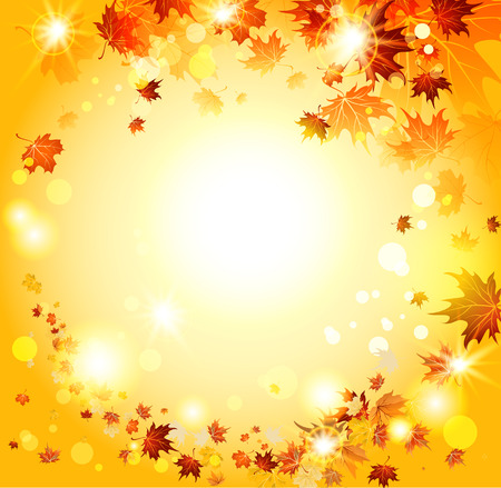 Orange autumn backdrop with maple leaves. Place for text