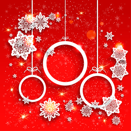 christmas snow: Red holiday background and Christmas decoration with snowflakes