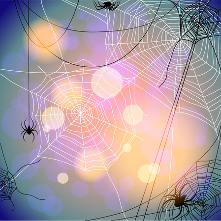 cobwebby: Holiday background with spiders and web. Seasonal illustration