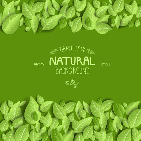 green background: Natural background and leaves with space for text Illustration