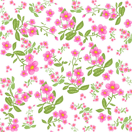Pink flower on white background. Seamless pattern Vector