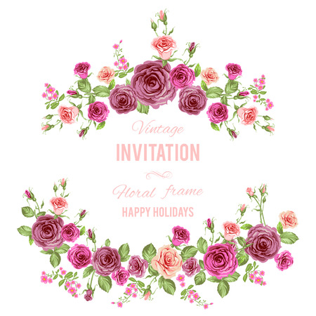 Retro frame with beautiful roses on white background. For wedding, holiday invitation or any events Vector
