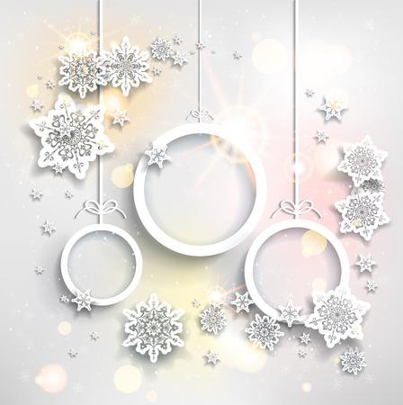 adornos navidad: Fondo brillante fiesta con decoraciones de Navidad Vectores