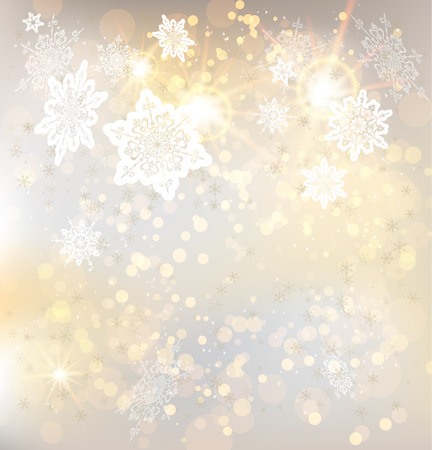 Festive winter background with snowflakes and lights. Copy space Vector