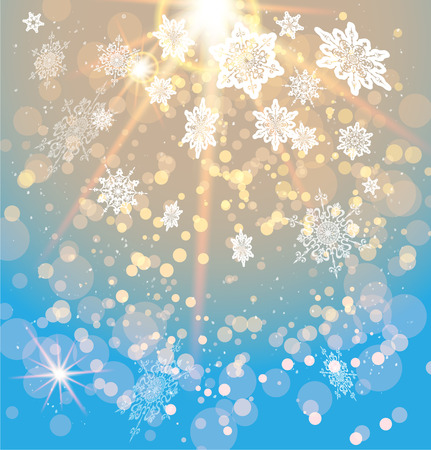 Snowy festive background with light and snowflakes Stock Illustratie