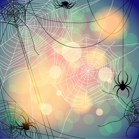 Seasonal background with spiders and web. Place for text