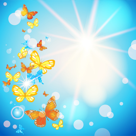 Summer sky and butterflies with place for text. Raster version Vector