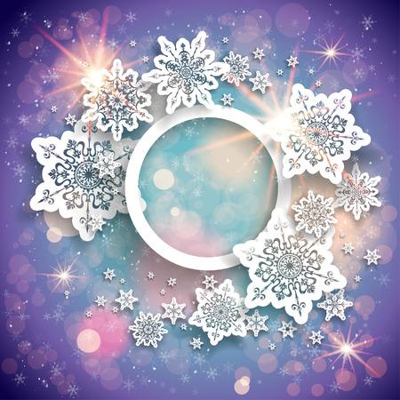 fondo artistico: Vacaciones de fondo violeta con luz, copos de nieve y bokeh