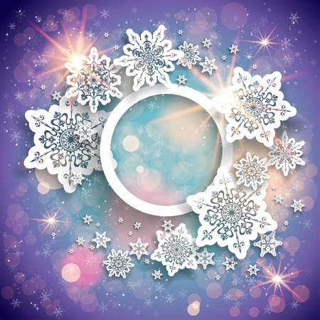 decorative card symbols: Violet holiday background with light, snowflakes and bokeh Illustration