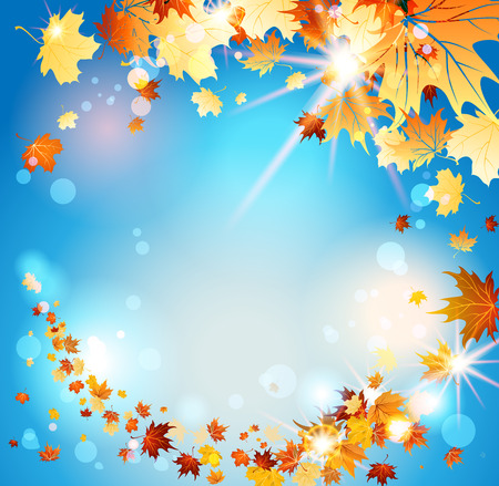 Autumn leaves on blue sky with place for text. Raster version Vector