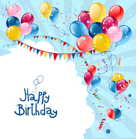Birthday holiday balloons in blue sky with place for text. Illustration