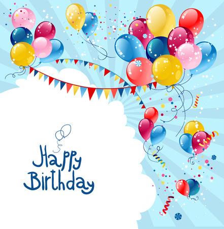 Ballons anniversaire de vacances dans le ciel bleu avec place pour le texte. Banque d'images - 32146790