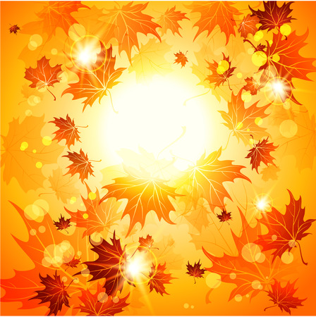 Bright autumn background and maple leaves. Raster version.