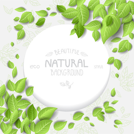 Eco style background with leaves. Place for text Imagens - 32143228
