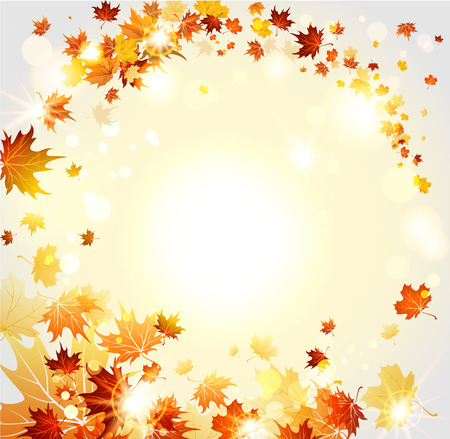 Fall background with fly leaves. Raster version. Vector