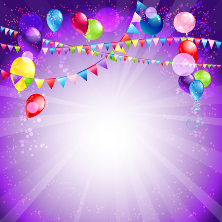 party balloons: Festive holiday balloons and confetti. Place for text Illustration