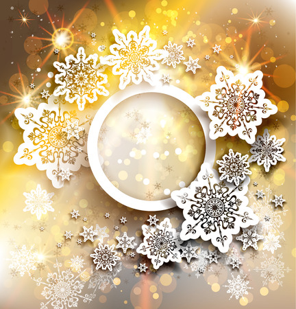 Gold christmas holiday background with place for text