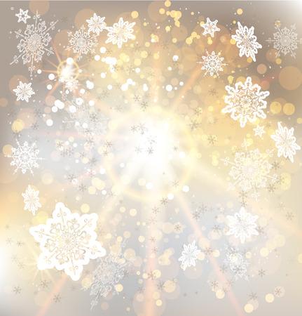 winter holiday: Sfondo dorato con i fiocchi di neve. Copiare lo spazio