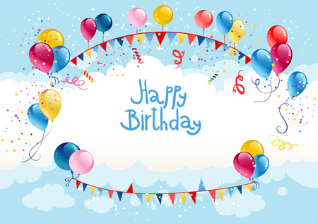 Happy birthday background in blue sky with place for text Vector