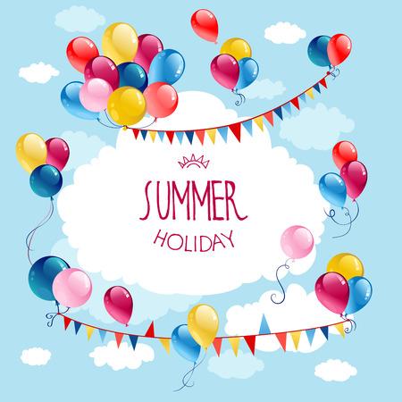 for text: Palloncini colorati vacanza compleanno in cielo blu con posto per il testo
