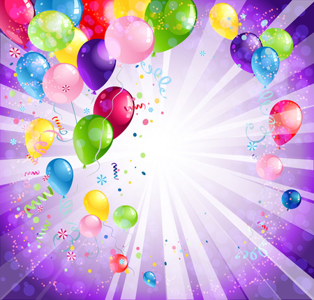 Bright holiday backdrop with balloons and confetti