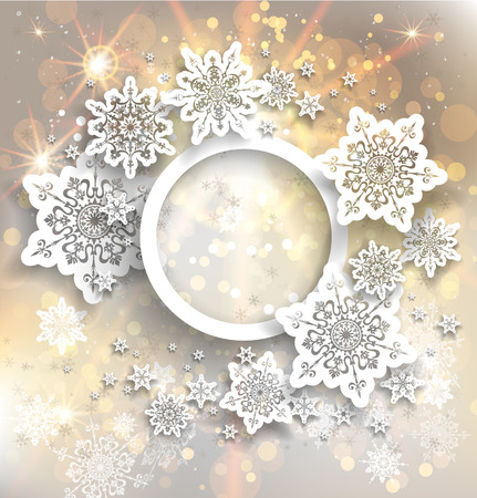 Golden holiday frame with snowflakes and lights. Vector