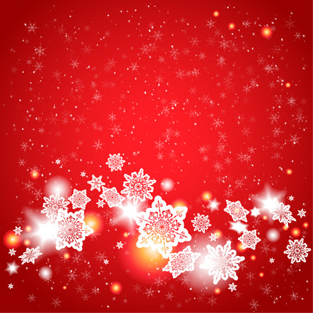 Red background and snowflakes with place for text Vectores