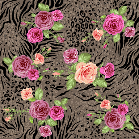 Mixed floral seamless pattern on animal backdrop Vectores