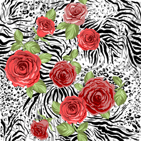 Repeating animal pattern and flowers. Seamless background Illustration