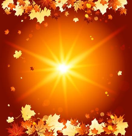 background herfst: Shining herfst achtergrond. Raster versie Stock Illustratie