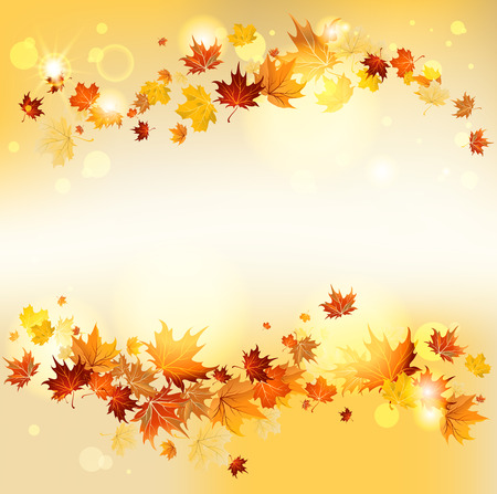 Swirl of maple flying leaves with copy space. Raster version
