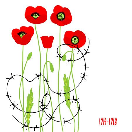 simbol: Papaveri rossi e filo spinato. Simbol dei caduti. Posto per il testo Vettoriali