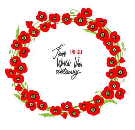 barbed wire frame: Red poppies wreath with place for text. Simbol of the fallen.