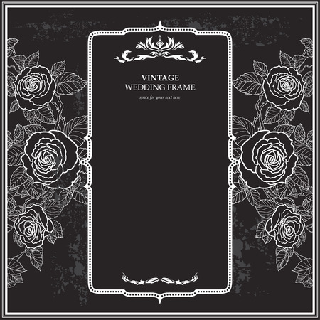 Vintage background for the wedding with roses. Copy space. Vectores