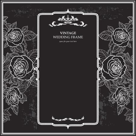leaves frame: Fondo de la vendimia para la boda con rosas. Copiar el espacio.