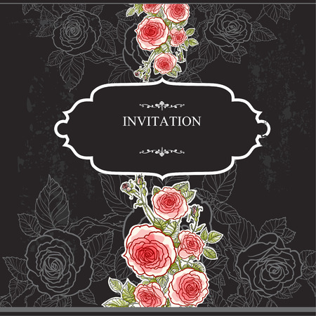 Vintage invitation with roses on black background.