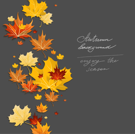Autumn design on dark background. Place for text 向量圖像