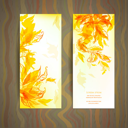 Set of abstract autumn card with place for text Vector