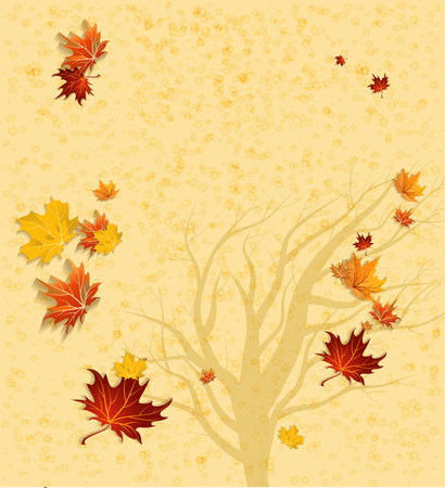 Autumn background and tree silhouette with copy space. Vector illustration Vector