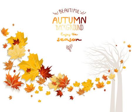 hintergrund herbst: Herbst Hintergrund mit Baum-Silhouette. Kopie Raum. Illustration