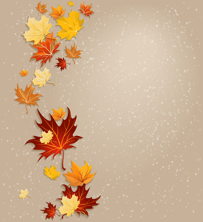 ��copy space �: Autumn leaves vector background with copy space Illustration
