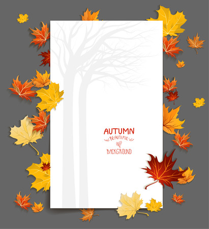 Blank with maple leaves. Vector frame with copy space. 일러스트