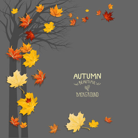 Silhouette of a tree and falling leaves with copy space Vector