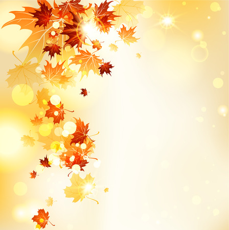 gold background: Flying leaves with copy space. Vector autumn background.