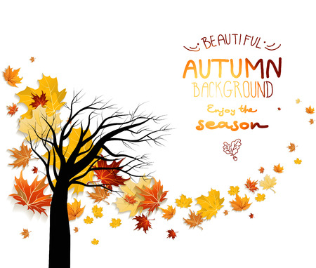 Abstract autumn background with autumn leaves and silhouette of tree. Copy space.