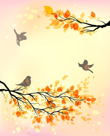 Autumn background with birds and yellow leaves. Copy space.