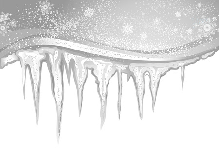 thaw: Winter background with gray icicles